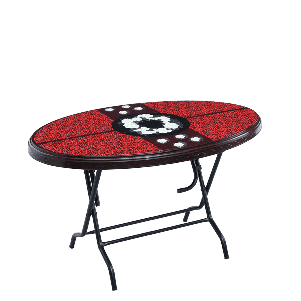 Dining Table 4 Seat Oval S/L Print Fog - Rose Wood